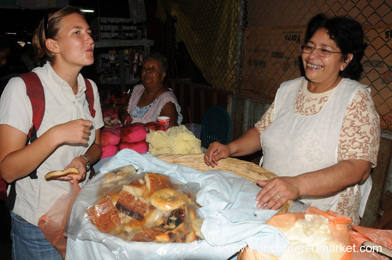 Sampling Market Cakes - Masaya, Nicaragua