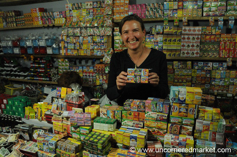 Posing with Miniature Food - Cochabamba, Bolivia