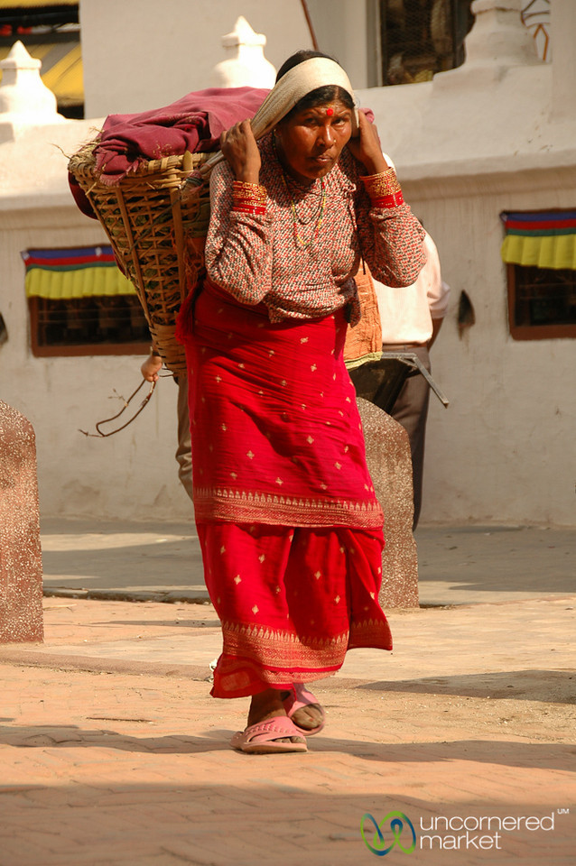 Carrying a Heavy Load - Bodhnath, Nepal
