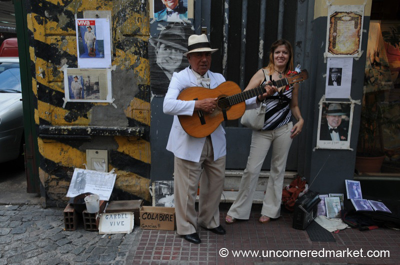 Street Musician at San Telmo's Sunday Market - Buenos Aires, Argentina