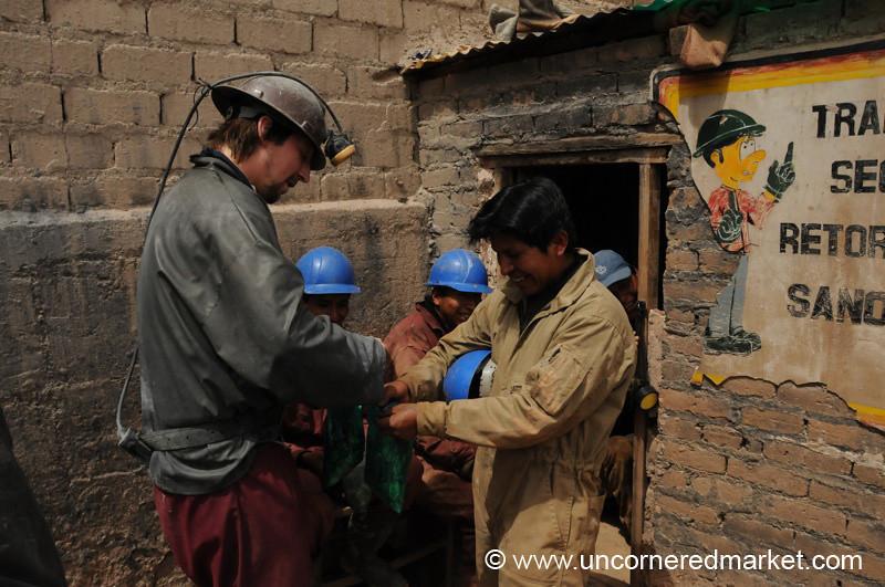 Handing Out Coca Leaves - Potosi, Bolivia