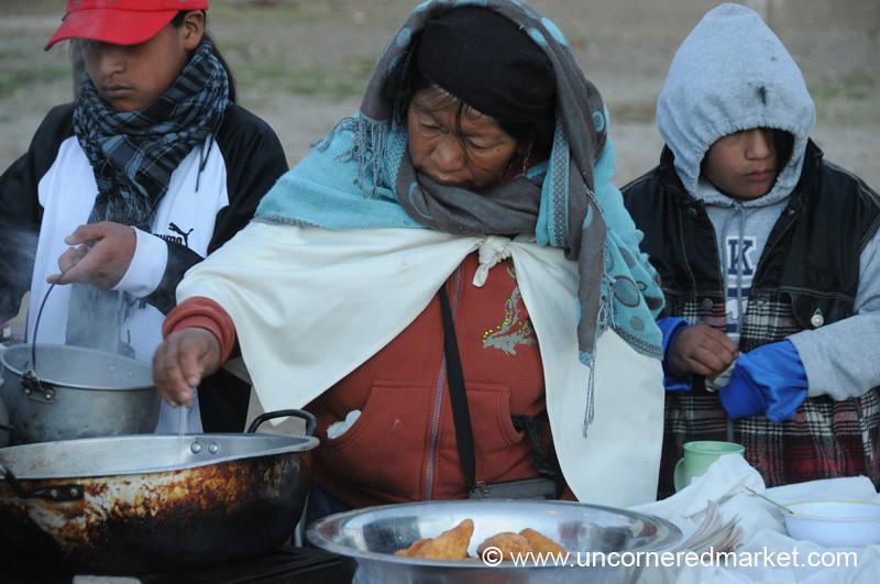 Preparing Breakfast - Otavalo Market, Ecuador