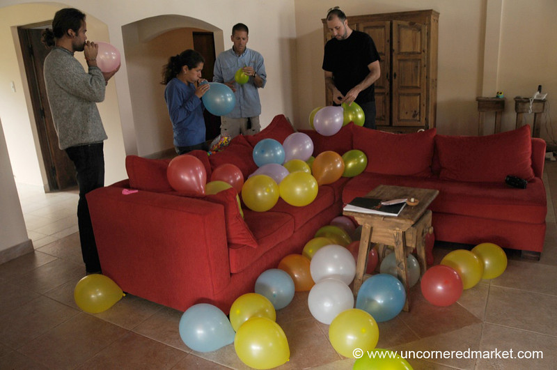 Blowing Up Balloons in Exchange for a Room - Salta, Argentina