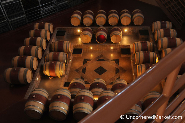 Looking Down at the Oak Barrels at Bodega Familia Schroeder - Neuquen, Argentina