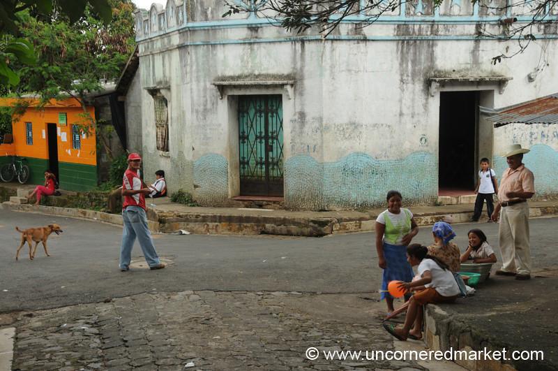 People at the Corner of Central Park - Perquin, El Salvador