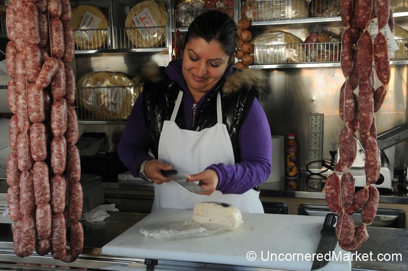Slicing Up Some Pecorino Cheese - Montepulciano, Tuscany