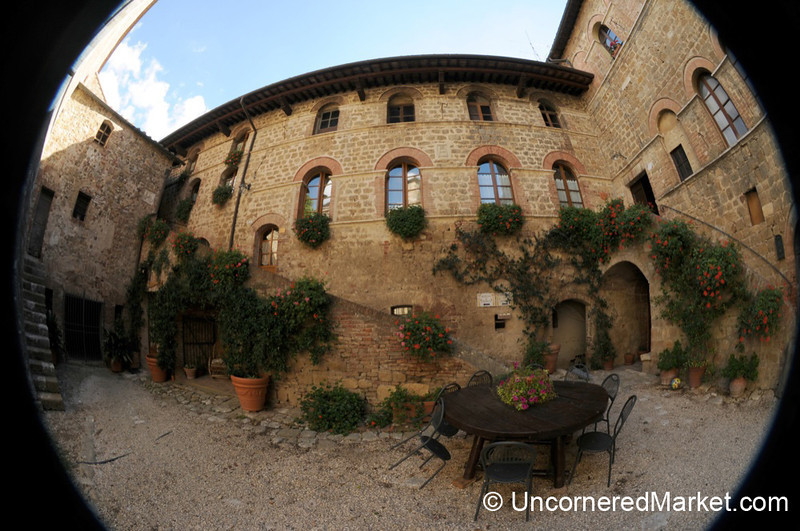 Courtyard of the Agriturismo at Spedaletto - Tuscany, Italy