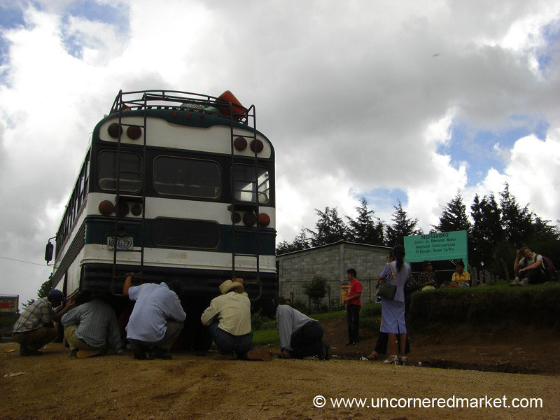Fixing Chicken Bus - Marcala, Honduras