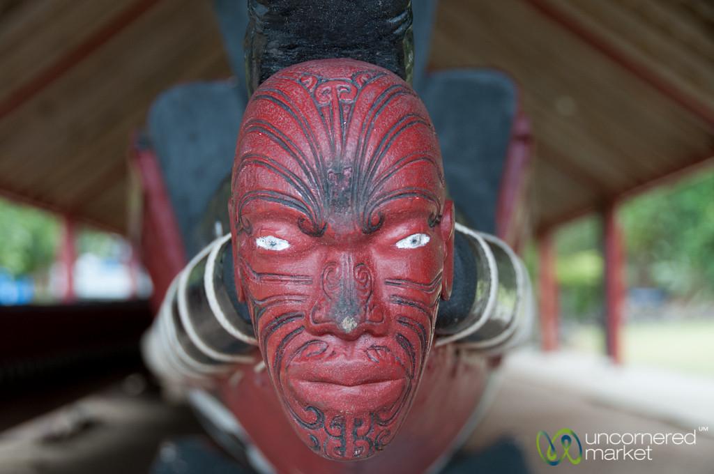 Maori Face at Front of Waka (Boat) - Waitangi Treaty Grounds, New Zealand
