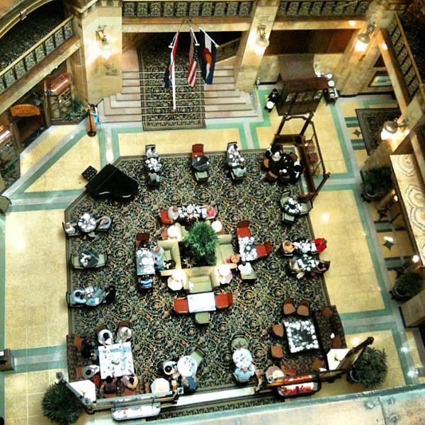 Aerial view of high tea, @BrownPalace #Denver #Colorado