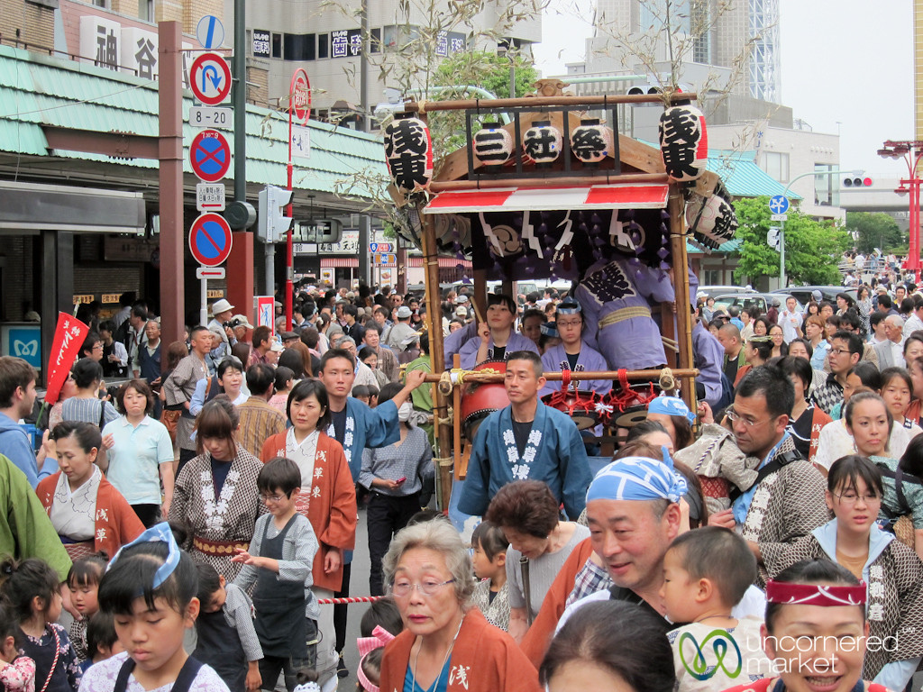 Mikoshi (Portable Shrine) at Sanja Festival - Tokyo, Japan