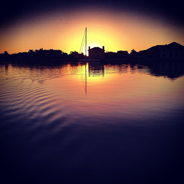 Closing Time: a sunset shot from the dock after our time with Tollie in Velddrif