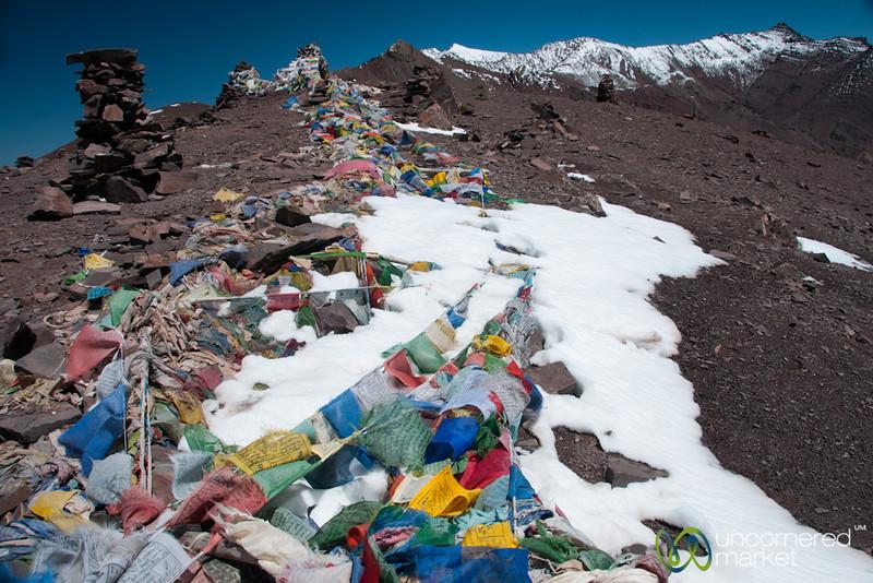 Prayer Flags Greet us at Top of Gongmaru La Pass - Ladakh, India
