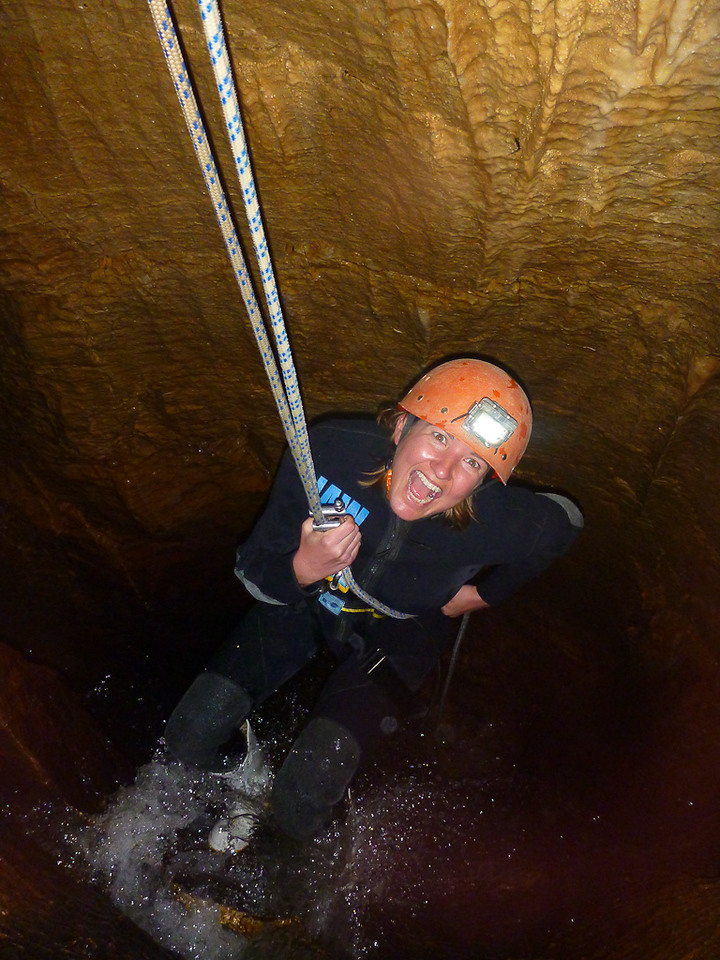 Abseiling Down Into Cave at Haggas Honking Holes - Waitomo, New Zealand