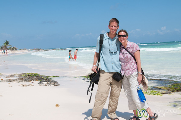 Dan and Audrey at Tulum Beach - Riviera Maya, Mexico