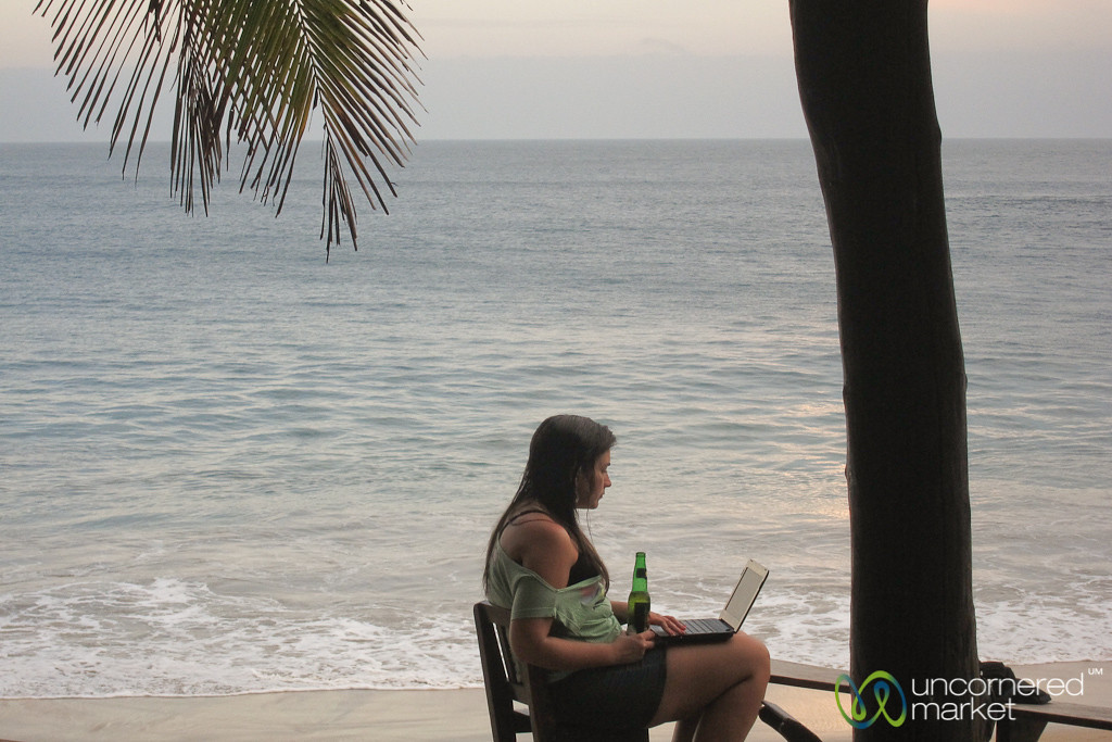 Working on Laptop at Beach - Mazunte, Mexico
