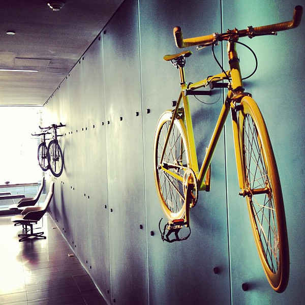 Wheels! Get on your bike and ride. Lobby at the mod minimalist @hotelTemplar #Toronto