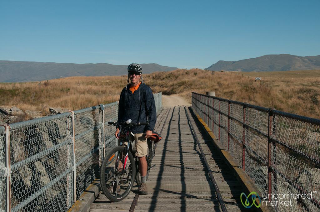 Dan Bikes Along Rail Trail - Central Otago, New Zealand
