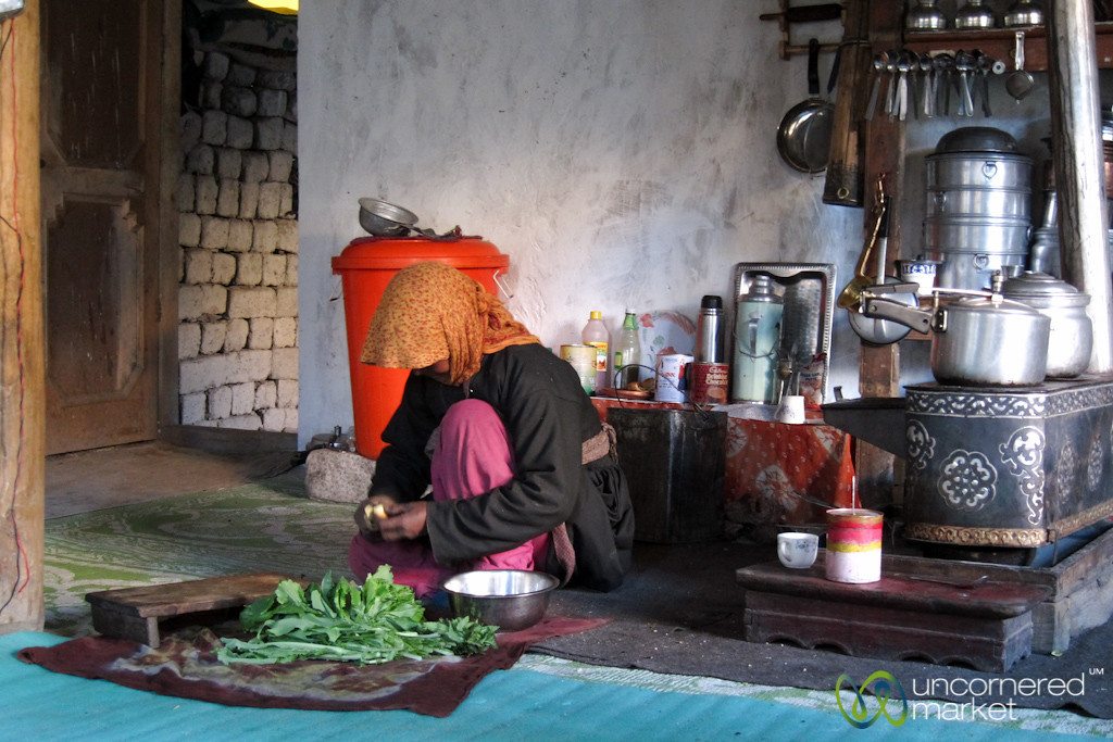 Ladakhi Homestay, Preparing Dinner - Hankar Village, Ladakh