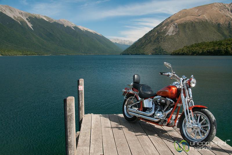 Harley Davidson at Lake Rotoiti - New Zealand