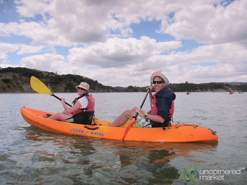 Dan & Audrey Kayaking Near Raglan, New Zealand