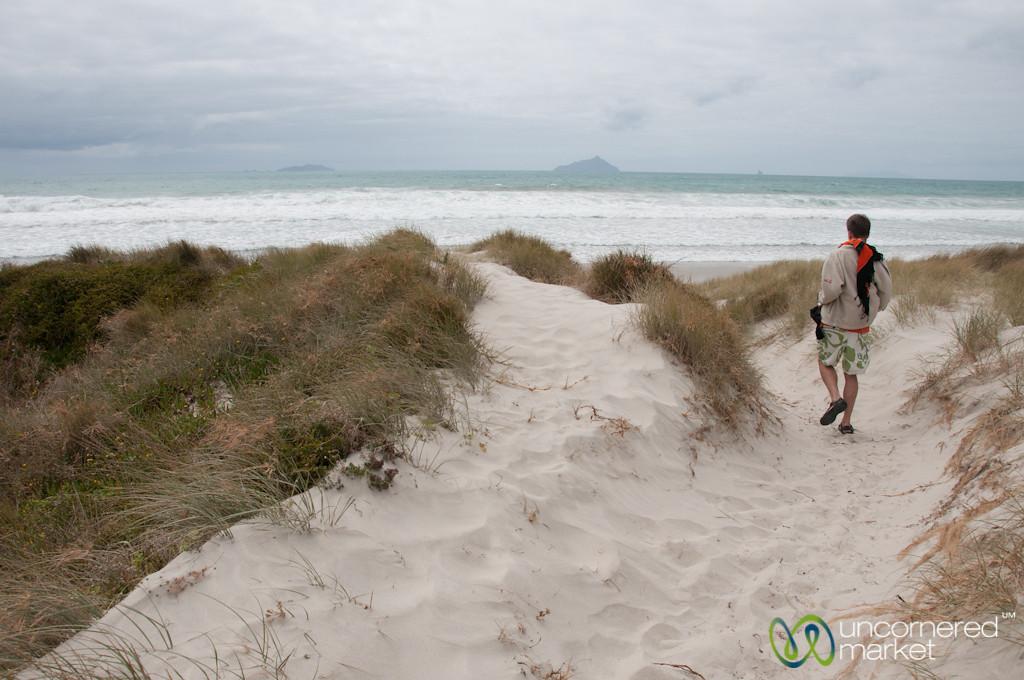 Dan Walks Down Uretiti Beach - Northland, New Zealand