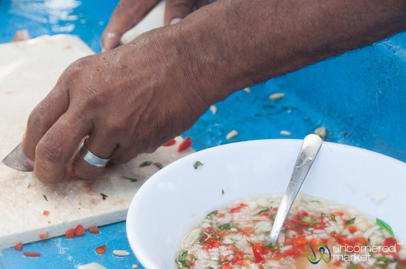 Preparing Fresh Lobster Ceviche - Morgan's Rock, Nicaragua