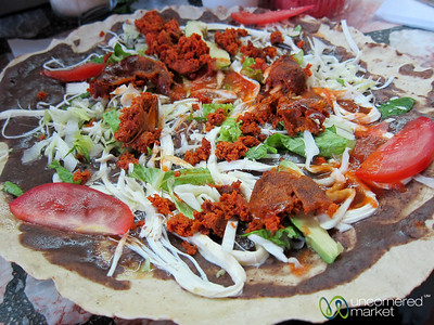 Tlayuda with Chorizo - Oaxaca, Mexico