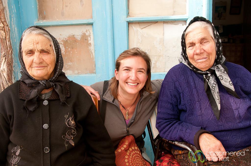 Audrey with Cretan Grandmothers - Crete, Greece