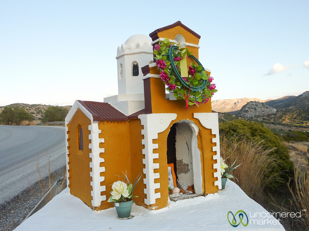 Roadside Memorial in Shape of Church - Crete, Greece
