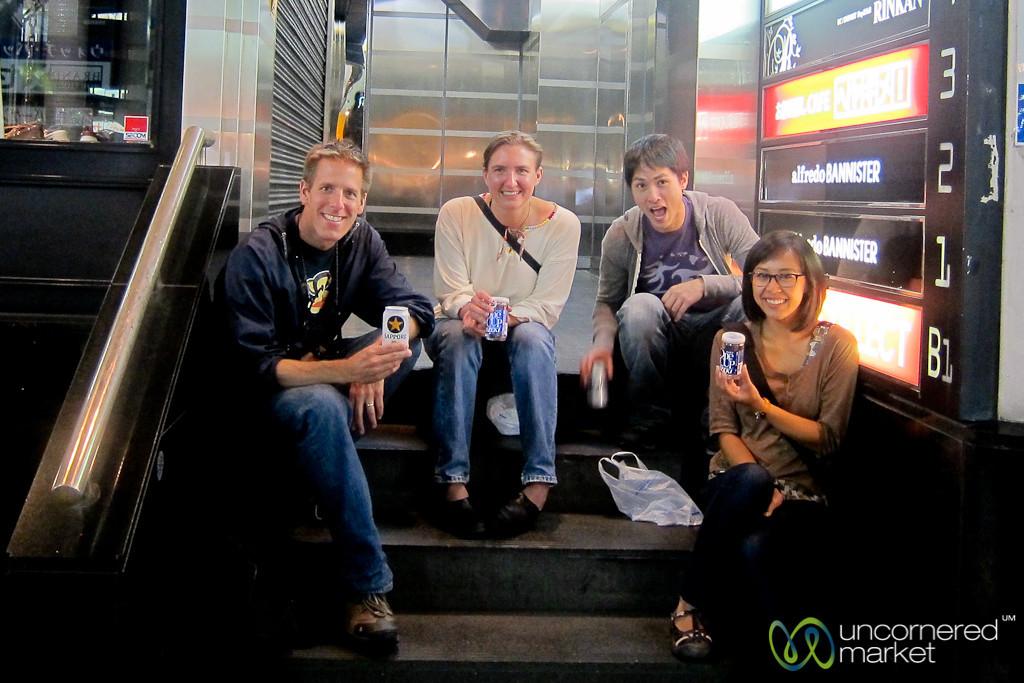 Sake & Beer on the Steps of Shinjuku, Japan