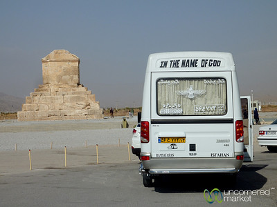 Tour Bus and Tomb of Cyrus - Pasargad, Iran