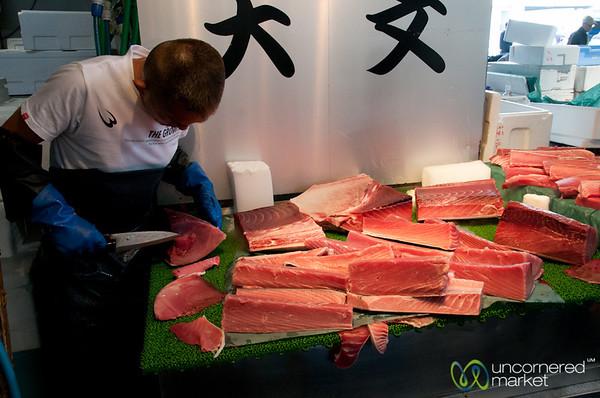 Trimming the Tuna - Tsukiji Fish Market, Tokyo