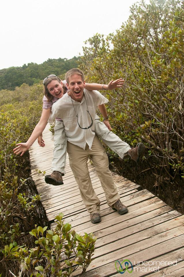 Dan & Audrey Goofing Off on Haruru Falls Trail - New Zealand
