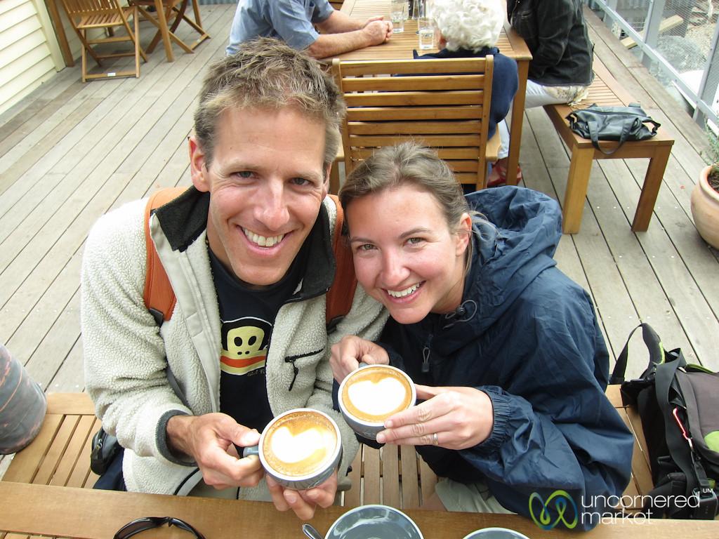 Dan & Audrey with Coffee Art - Queenstown, New Zealand