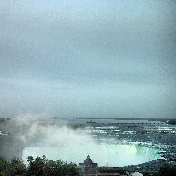 A view over the top of the Canadian side of Niagara Falls. Woke up to this view the last two mornings.