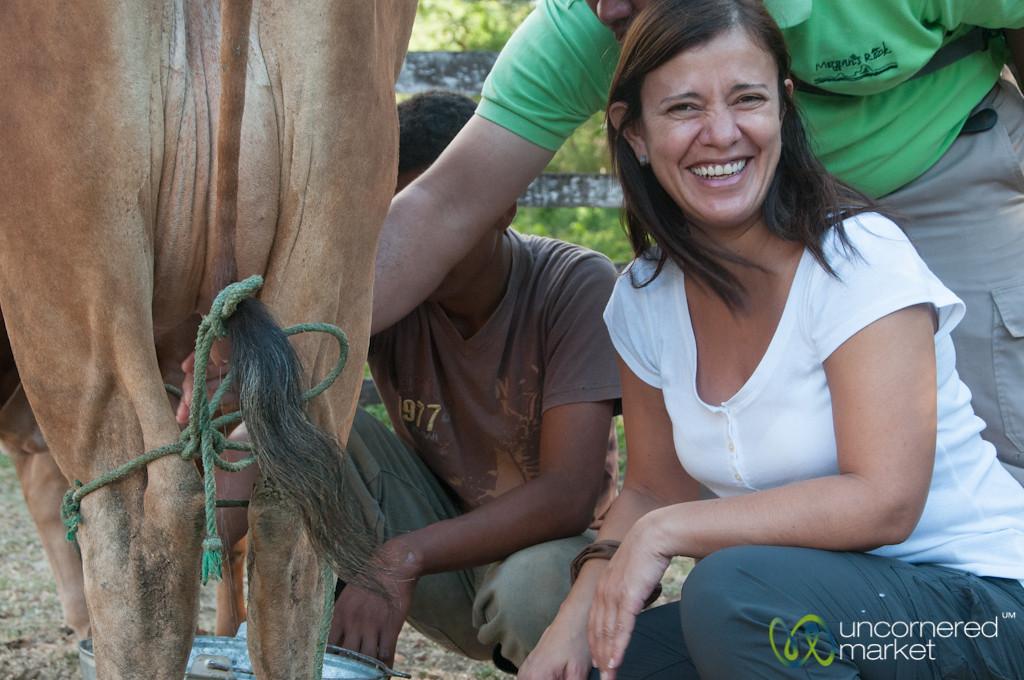 Selena Tries to Milk the Cow - Morgan's Rock, Nicaragua