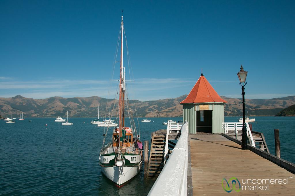 Akaroa Dock and Sailboat - New Zealand