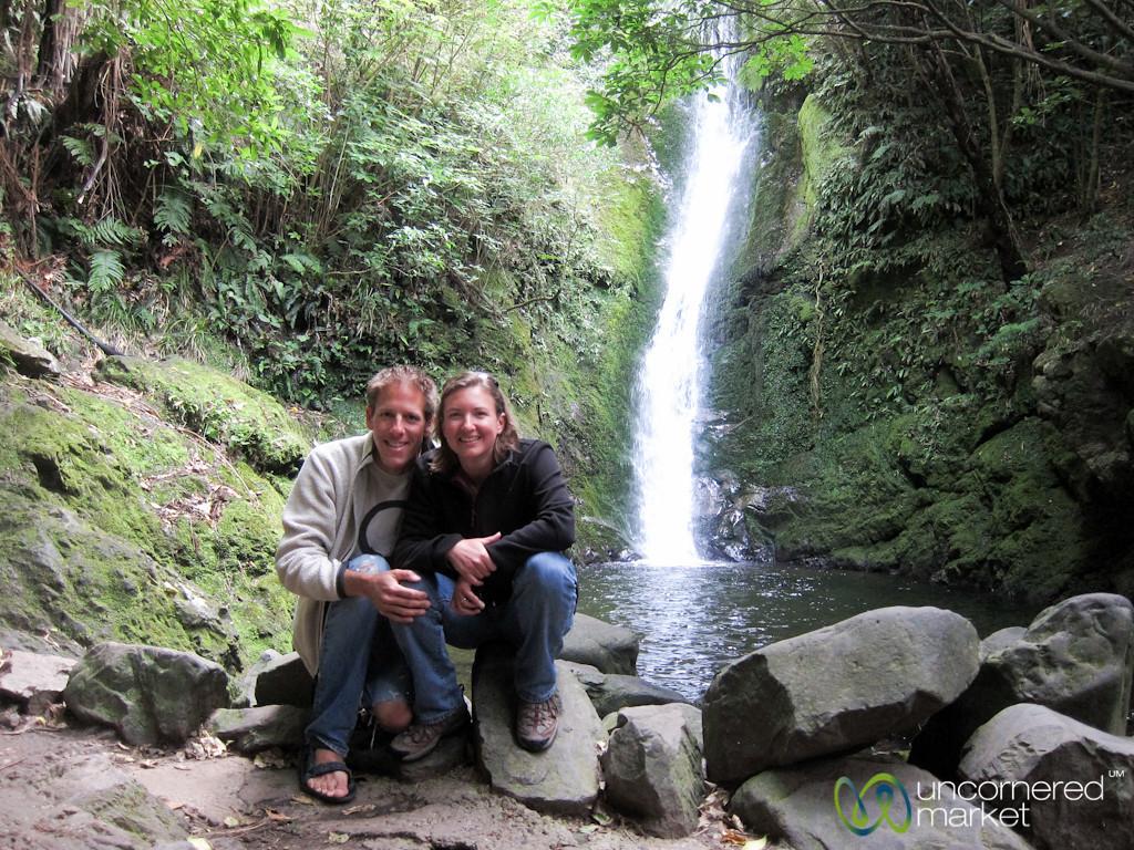 Dan and Audrey at Ohau Waterfall - Kaikoura, New Zealand