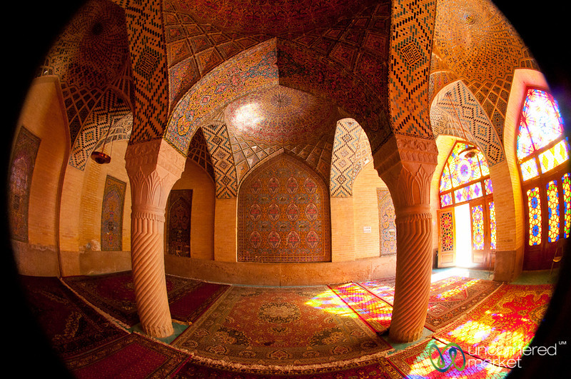 Fisheye View of Pink Mosque - Shiraz, Iran
