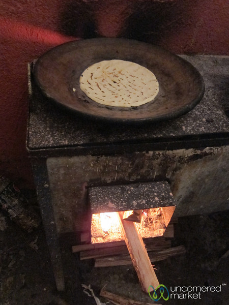 Nicaraguan Tortilla on Stove - Morgan's Rock, Nicaragua