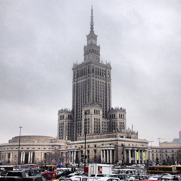 Anyone else hear that slow, low-note timpani when looking at this image? Palace of Culture and Science, #Warsaw #winter #brrr