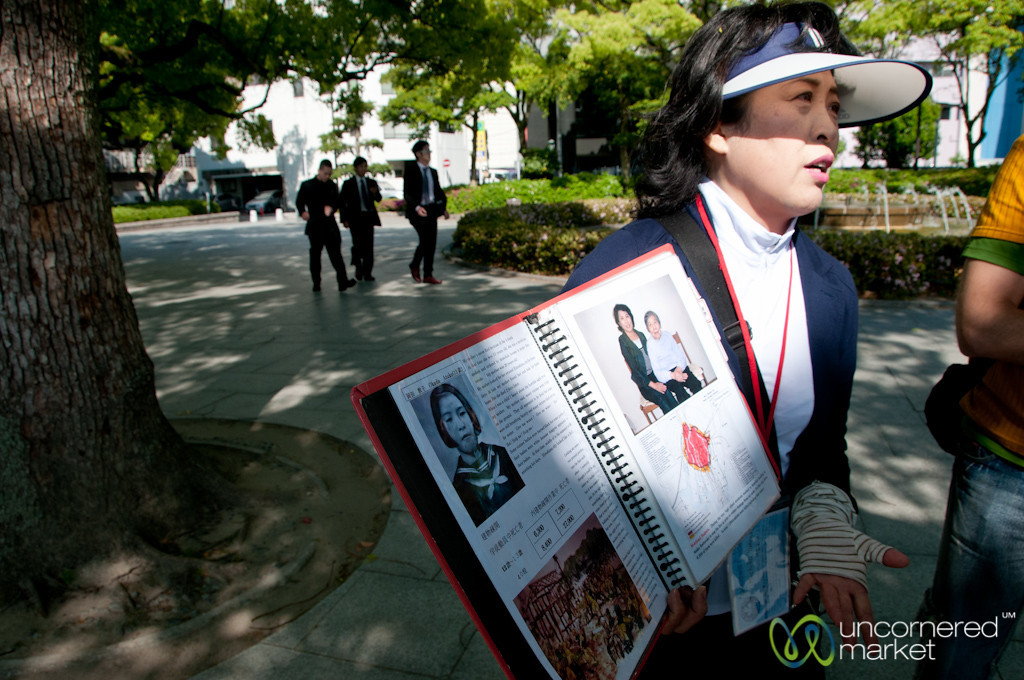 Michoko, our Volunteer Guide, Talks about Atomic Bomb in Hiroshima, Japan