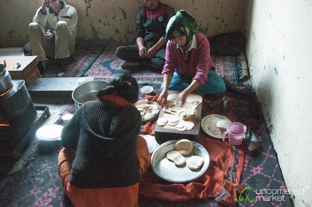 Rolling Out Dough for Momos - Markha Village, Ladakh
