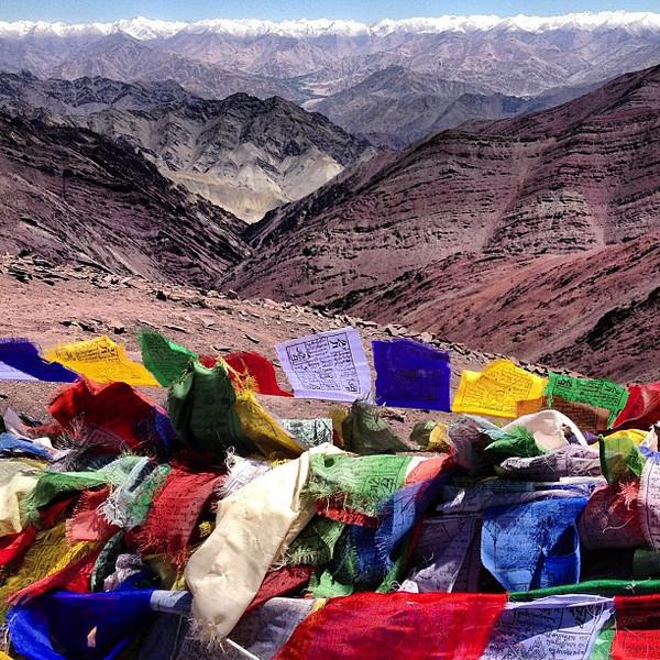 Prayer flags, Gongmaru La Pass and the deep Himalaya Zanskar Range. I was just storytelling about being on top of the world here. #Ladakh #latergram #India