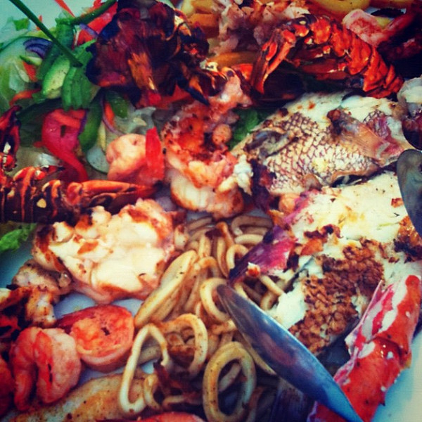 And now we eat. Seafood feast at Tulum beach. So fresh, so good. #wevisitmexico