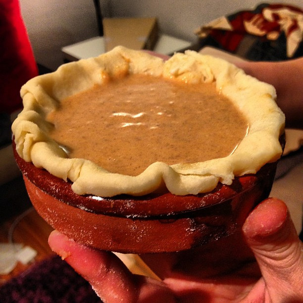 If you're celebrating...Happy Thanksgiving! (mini pumpkin pie baked in a tapas dish) #hungry