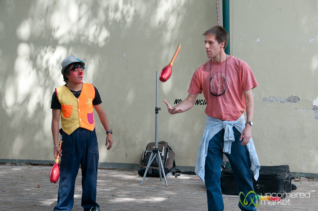 Dan Learns Juggling Skills at Tlacolula Sunday Market - Mexico