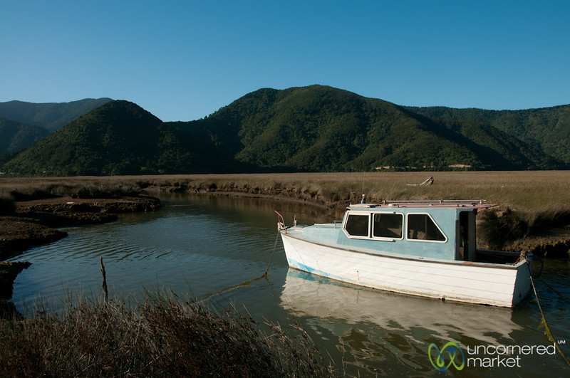 Old Boat Tied Up Near Havelock, New Zealand