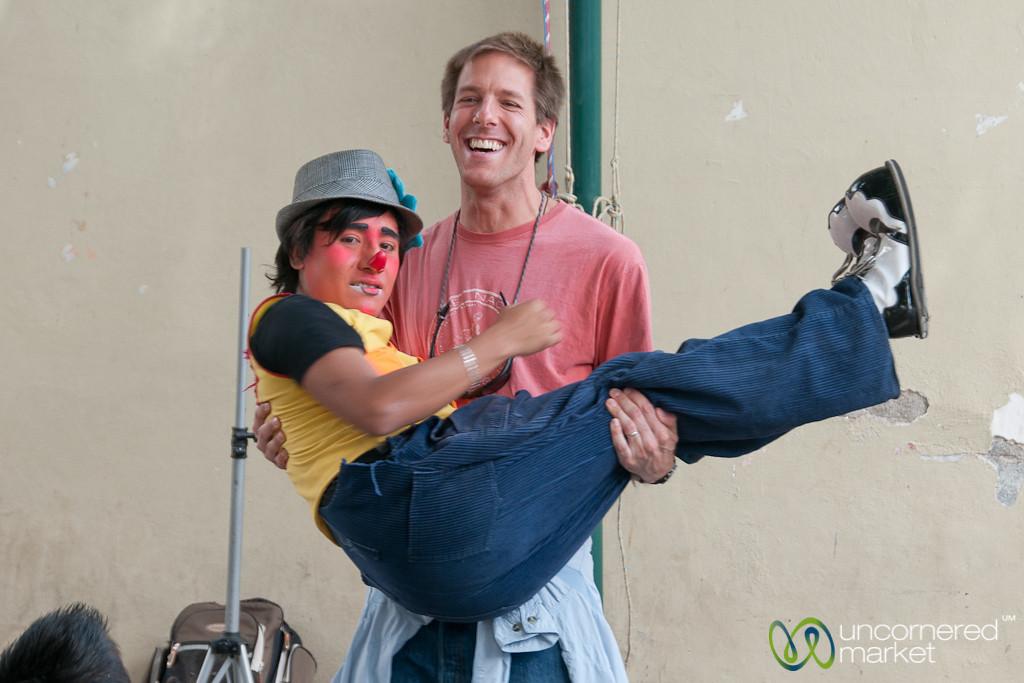 Clown in Dan's Arms at Tlacolula Market - Oaxaca, Mexico